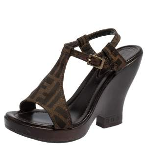 Fendi Brown Zucca Canvas Wedges Ankle Strap Sandals 37.5