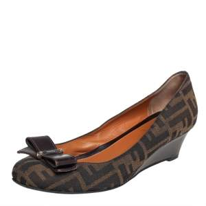 Fendi Brown Zucca Canvas Bow Detail Wedge Pumps Size 39