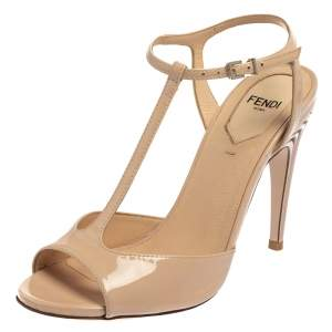 Fendi Blush Pink Patent Leather T Strap Sandals Size 36