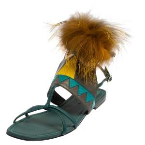 Fendi Blue Leather Fur Trim Bug Ankle Strap Sandals Size 38.5