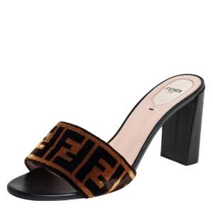 Fendi Brown Zucca Velvet Open Toe Slide Sandals Size 40.5