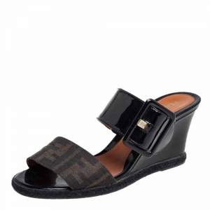 Fendi Black/Brown Patent Leather and Zucca Canvas Demi Wedge Sandals Size 37