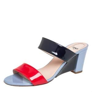 Fendi Multicolor Patent Leather Strap Slide Sandals Size 37