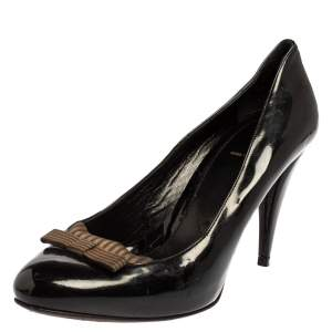 Fendi Black Patent Leather  And Fabric Bow Pumps Size 41