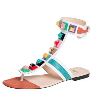 Fendi Multicolor Leather Studded Ankle Cuff Flat Sandals Size 39