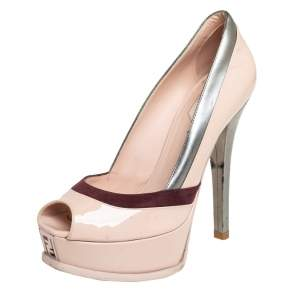 Fendi Beige/Burgundy Patent Leather And Suede Peep Toe Pumps Size 36