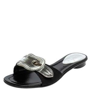 Fendi Silver Canvas And Patent Leather B Buckle Slide Sandals Size 38