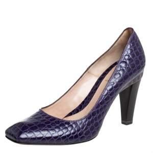 Fendi Purple Croc Embossed Leather Pumps Size 39
