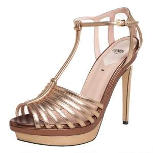 Fendi Metallic Gold Leather  T- Strap Platform Sandals Size 39