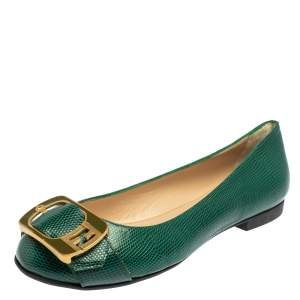 Fendi Green Lizard Embossed Leather Buckle Detail Ballet Flats Size 39