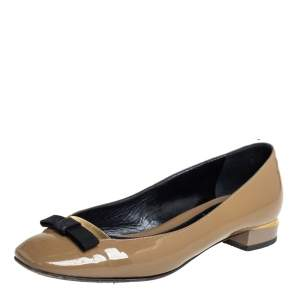 Fendi Dark Green Patent Leather Bow Ballet Flats Size 36