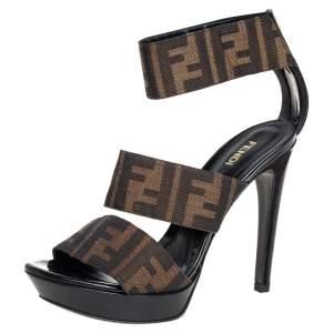 Fendi Brown Zucca Canvas Platform Ankle Cuff Sandals Size 36.5