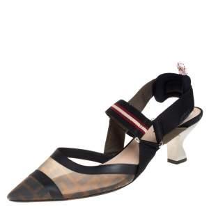 Fendi Brown Zucca Mesh And Leather Colibri Slingback Sandals Size 40