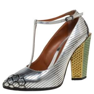 Fendi Silver Leather T-Strap Block Heel Pumps Size 36.5