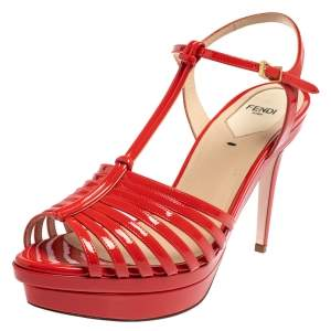 Fendi Red Patent Leather Favorite T-Strap Platform Sandals Size 39