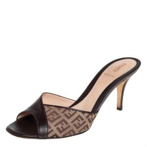 Fendi Brown/Beige Zucca Canvas And Leather Slide Sandals Size 39