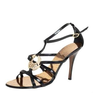 Fendi Black Patent Leather Strappy Ankle Strap Sandals Size 39