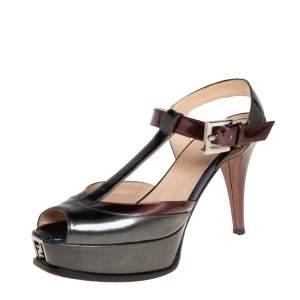 Fendi Green/Brown Patent Leather T Strap Fendista Sandals Size 40