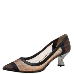 Fendi Brown/Black Zucca Mesh And Leather Colibri Pointed Toe Pumps Size 38.5