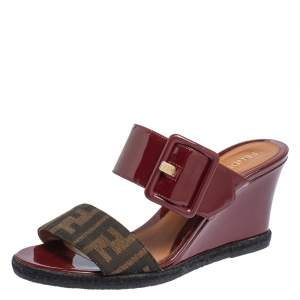 Fendi Burgundy Patent Leather And Zucca Canvas Demi Wedge Sandals Size 38