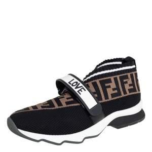Fendi Multicolor Knit Fabric And Rubber Strap Rockoko Sneakers Size 39