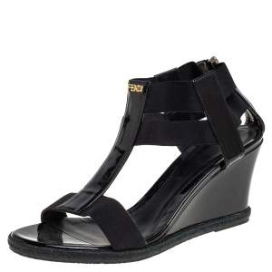 Fendi Black Elastic And Patent Leather Espadrille Wedge T-Strap Sandals Size 38.5