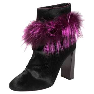 Fendi Pink/Black Pony Hair and Fur Trimmed Ankle Boots Size 38