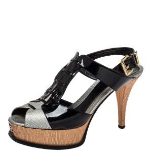 Fendi Multicolor Patent Leather and Leather Slingback Platform Sandals Size 39.5