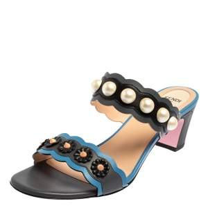 Fendi Multicolor Leather Faux Pearl Embellished Slide Sandals Size 40