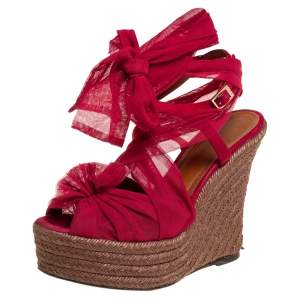 Fendi Burgundy Tulle Wedge Ankle Wrap Platform Espadrille Sandals Size 38