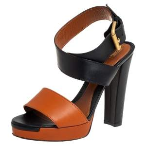 Fendi Brown/Black Leather Platform Ankle Wrap Sandals Size 37