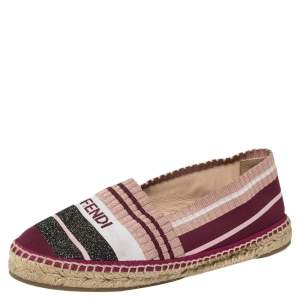 Fendi Multicolor Stretch Fabric Espadrille Flats Size 37.5