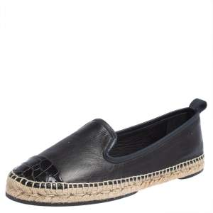 Fendi Navy Blue Leather And Black Croc Embossed Cap Toe Junia Espadrilles Flats Size 40