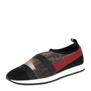 Fendi Multicolor Mesh And Canvas Colibri Slip on Sneaker Size 39