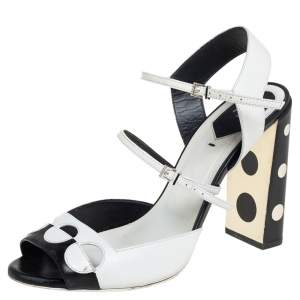 Fendi Black/White Leather Ankle Strap Polka Dot Sandals Size 40