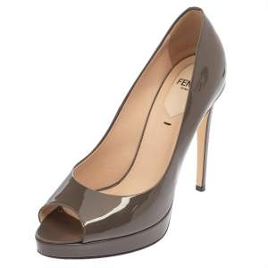 Fendi Grey Patent Leather Peep Toe Platform Pumps Size 36