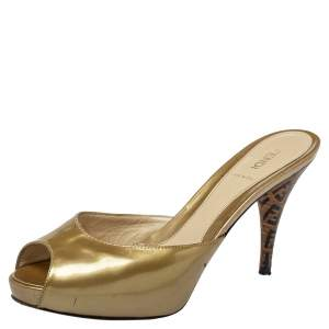 Fendi Gold Patent Leather FF Superstar Peep Toe Mule Slides Size 39