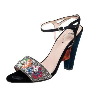 Fendi Multicolor Velvet And Satin Embroidered Ankle Strap Sandals Size 41