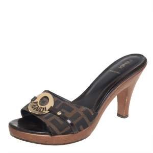 Fendi Brown Zucca Canvas Heel Mules Sandals Size 39