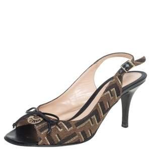 Fendi Brown Zucca Canvas Logo Plaque Peep Toe Slingback Sandals Size 36