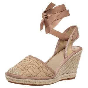Fendi Beige Zucca Canvas Espadrille Ankle Wrap Wedge Sandals Size 41