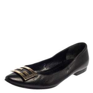 Fendi Black Leather Logo Ballet Flats Size 37