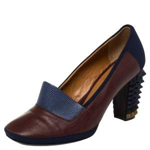Fendi Brown/Blue Lizard Embossed Leather and Fabric Polifonia Court Studded Heel Pumps Size 39