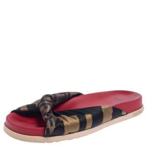 Fendi Tri Color FF Print Satin Knotted Slides Size 39