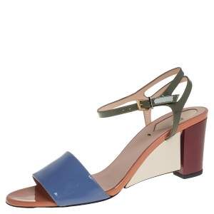 Fendi Multicolor Patent Leather Open Toe Ankle Strap Sandals Size 39
