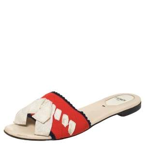 Fendi Multicolor Knit Fabric Bow Flat Slides Size 36