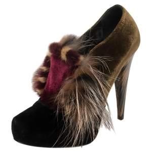 Fendi Multicolor Velvet Fur Platform Pumps Size 37