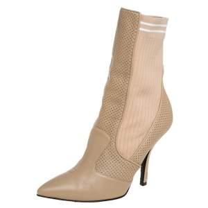 Fendi Beige Leather Rockoko Ankle Length Boots Size 37
