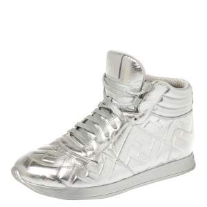 Fendi Silver Leather FF High Top Sneakers Size 38