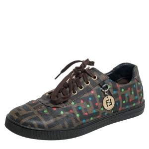 Fendi Brown Zucca Coated Canvas Low Top Sneakers Size 37.5